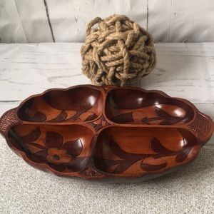 Vintage Hand Carved Wooden Floral Brown Bowl